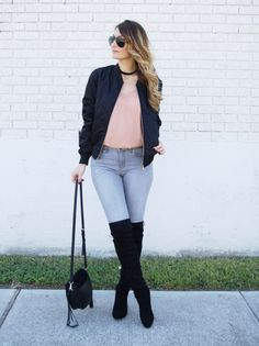 Black bomber jacket and over the knee boots #bomberjacket #overthekneeboots #boots
