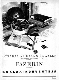 PopuLAARI: Fazerin suklaakonvehteja (1925) Old Pictures, Ancient History, Vintage Ads, Finland, Nostalgia, December, Advertising, Candy, Times