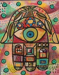 Sandra Silberzweig Hamsa Evil Eye Protection Green Hand 8 X 10 Canvas Print