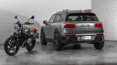 Inspired by the BMW R nineT Scrambler, the MINI Clubman Scrambler borrows motorcycle style to add some attitude to Mini's largest offering. Mini Clubman, Mini Countryman, Mini Coopers, Bobbers, Pick Up, Crossover, Bmw R Ninet Scrambler, Mini Cooper One, Automobile
