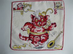 Vintage 1930s Childs Handkerchief - Cat That Got The Cream - Childrens Kids Hanky