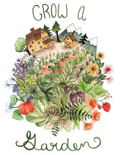 For the aspiring gardener in your life, I bring you this colorful print portraying a homestead with an illustrious garden brimming with flowers,