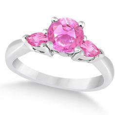 Pear Three Stone Pink Sapphire Engagement Ring 14k White Gold (1.50ct) - Allurez.com