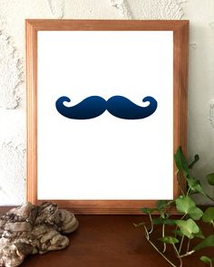 Printable Instant Download Navy Blue and White Minimalist Print Mustache by BoodaDesigns on Etsy