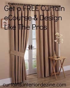 Please visit http://curtains.interiordezine.com for a fantastic FREE curtain eCourse, delivered right to your email inbox, that will teach you exactly how to use curtains and window treatments in your interior design projects like the pros do.  Please repin this image if you know anyone else who would be interested!