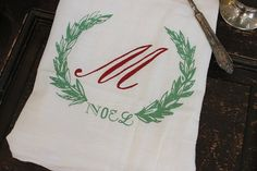 Christmas Towel, 1- Kitchen Towel, Flour Sack Towel ,  Christmas Monogrammed Towel,Dish Towel,Vintage, Christmas Decoration,