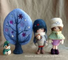 Needle felted handmade OOAK Winter tree- blue purple snow snowflakes by FunFeltByWinnie on Etsy Felted Wool Crafts, Felt Crafts, Fabric Crafts, Needle Felted, Wet Felting, Felt Fairy, Art Textile, Winter Trees, Waldorf Dolls