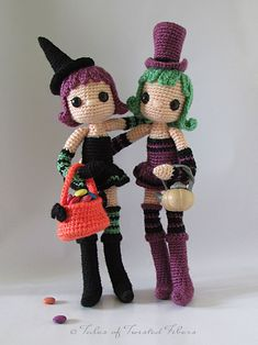 Violet and Ivy are 10.5 inch tall without the hat. A wireframe inside give these cute amigurumi girls moveable limbs and head, making them fully poseable. Just imagine the endless fun you can have ...