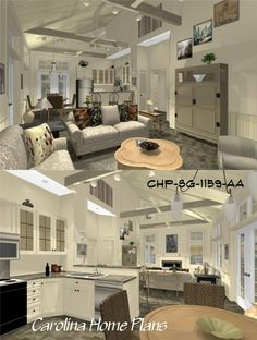 Dramatic cathedral ceiling with open floor plan layout