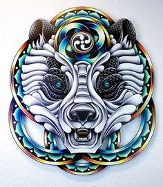 """Panda Messenger"" - Pale Horse, digital illustration, substrate print on 6 layers of cut & assembled, clear acrylic glass, 2013 Creative Design, Design Art, Graphic Design, Pale Horse, Surrealism Painting, Photoshop Illustrator, Animal Design, Art Logo, Artist Art"