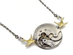 Steampunk Necklace Elgin pocket watch antique 1890 guilloche engraved ruby jewel silver gold swallows bird with genuine pearls filigree vintage pendant