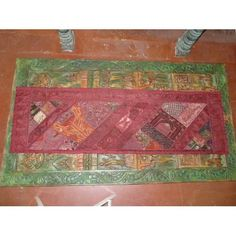 Cordovan Vintage Beaded Textile Sari Tapestry Throw Wall Hanging Table Runner  $150.00