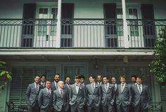 New Orleans wedding destination wedding photography groom and groomsmen / bowtie / gray suits www.arielrenaephoto.com