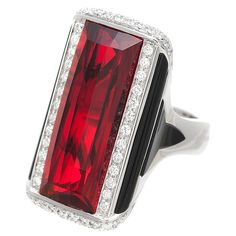 Art Deco Garnet, Onyx & Platinum Italian Vintage Ring