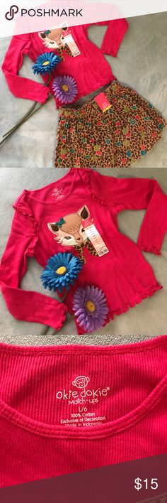 NWT OKIE DOKIE MATCH-UPS Longsleeve and skirt. These match-ups are so adorable and good for the holidays. Long sleeve bright rose pink - fox and an animal print skirt. Okie Dokie Matching Sets