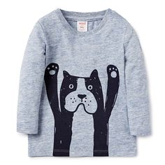 Cotton/Elastane blend Tee. Jersey, long sleeve t-shirt. Features placement print on front and back. Regular fitting silhouette with snaps on baby's left shoulder for easy dressing. Available in Farm Blue Marle.