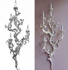 Mixture between bird and baroque design for romantic lighting