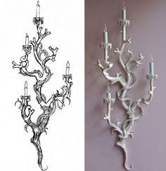 gorgeous white wall sconce- looks like a branch