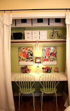 closet desk shelves   Create a Closet Craft Space from a Hollow Core Door--No Power Tools ...