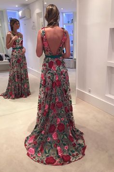 New Arrival A-Line Lace Sweep Train Long Prom Dress with Open Back