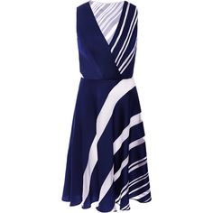 Carolina Herrera A-Line Stripe Jacquard Cocktail Dress (€2.815) ❤ liked on Polyvore featuring dresses, carolina herrera, mekot, striped dress, blue dress, sleeveless cocktail dress, carolina herrera dresses and deep v neck dress