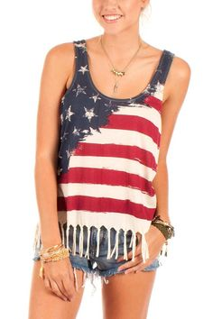 Show a little American pride in this fun jersey tank. It sports a comfortable loose fit with a fringe bottom. Pair it with your favorite distressed denim shorts or jeans.   Allegiance Top by Others Follow . Clothing - Tops - Casual Clothing - Tops - Sleeveless Clothing - Tops - Tees & Tanks Colorado