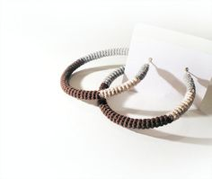 Crochet Tube Hoop Earrings GreyBrownCream by vanessahandmade, $17.00