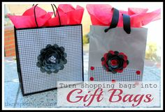 The V Spot: Turn old shopping bags into gift bags. A paper craft DIY.