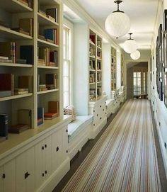 Bookshelves built-ins - a hallway of books!