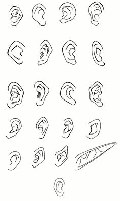 How to Draw Anime and Manga Ears Anime Drawings Sketches, Pencil Art Drawings, Manga Drawing Tutorials, Art Tutorials, Drawing Templates, Caricature Drawing, Drawing Reference Poses, Character Drawing, Art Sketchbook