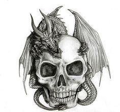 simple dragon drawings with wings | Skul end snake art designs | Tattoo Hunter #dragon #tattoos #tattoo