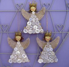 angels with vintage buttons