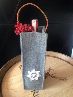 Gray Felt Wine Tote Wine Bottle Cover Holder by feltallovercom