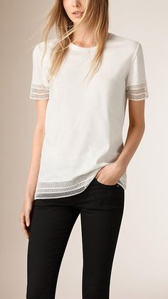 Off white Lace Trim Cotton Top - Image 1