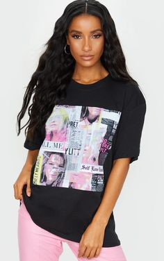 Plt Black Newspaper Printed T Shirt | Tops | PrettyLittleThing Everyday Outfits, New Outfits, Newspaper Printing, Latest Fashion For Women, Womens Fashion, Statement Tees, Pink Pants, S Models, Black Cotton