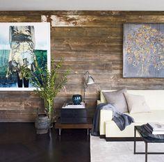 wood panel wall, dark floor.