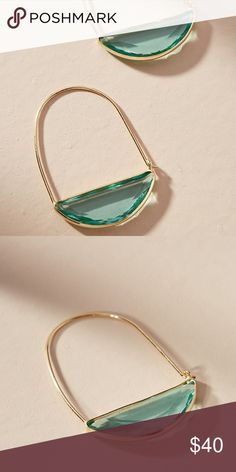 """Anthropologie Crescent Hoop Earrings NWT Brand new with tag on. Beautiful glass stone in translucent green color. Great for spring and summer.  Style No. 44404531 ; Color Code: 046  Plated metal, glass Imported Dimensions 1.5""""L, 1""""W Anthropologie Jewelry Earrings"""