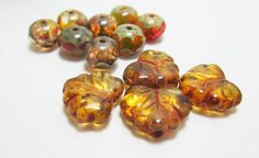1 Czech Bead Earring Kit Olive Orange and Brown Rondelles Leaf