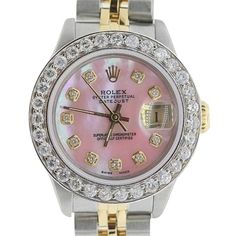 Pre-owned Ladies Datejust Pink Mop Diamond Watch ($4,200) ❤ liked on Polyvore featuring jewelry, watches, accessories, none, diamond jewellery, rolex watches, diamond dial watches, pink dial watches and rolex wrist watch