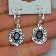 Faceted Black Onyx Earrings - Leverback - Sterling Silver - Oval - Filigree Victorian Vintage Design - 171406