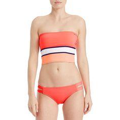Vince Camuto Block Striped Bandeau Swim Top ($32) ❤ liked on Polyvore featuring swimwear, bikinis, bikini tops, coral, swim suit tops, block bikini, colorblock bikini top, striped bikini and color block bikini