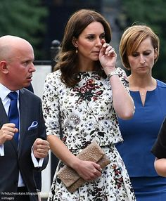 Catherine Duchess of Cambridge wipes away a tear after visiting Stutthof concentration camp in Poland. July 18 2017
