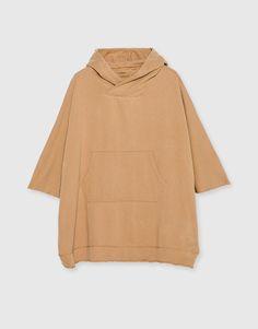 :Plush poncho with hood