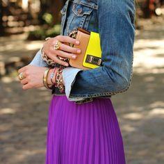 Purple Pleated Maxi Skirt.
