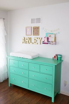 Mint Dresser with Clear Pulls - pairs perfectly with a gold accents in a nursery!