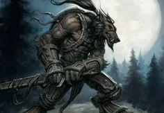 Gothique Statue Fantastique Loup Homme Howling Loup-Garou Figure avec Têtes