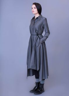 Long Grey Cotton Shirt Dress with Pockets and Belt / Grey Tunic / Casual Top / Formal Dress / Elegant Office Dress / Long Sleeved Dress Unique Dresses, Elegant Dresses, Formal Dresses, Cotton Shirt Dress, Cotton Dresses, Brown Dress, Gray Dress, Short Outfits, Dress Outfits