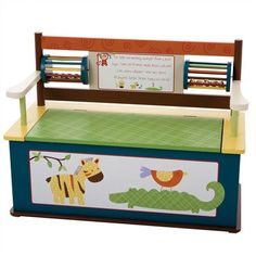Jungle Jingle Bench Seat with Storage - #nursery #jungletheme #kidsrooms #toys #chest #storage #bench