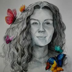 Akryl #potret #with butterflies