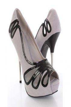 Lt. Grey Black Faux Suede Leather Design Mirrored Sexy Stiletto Heels